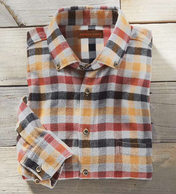 Patrick James Plaid Flannel Sport Shirt in Fall colors