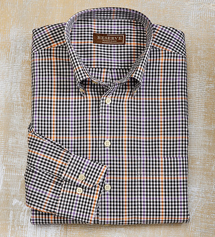 Reserve Long Sleeve  Windowpane Check Sport Shirt