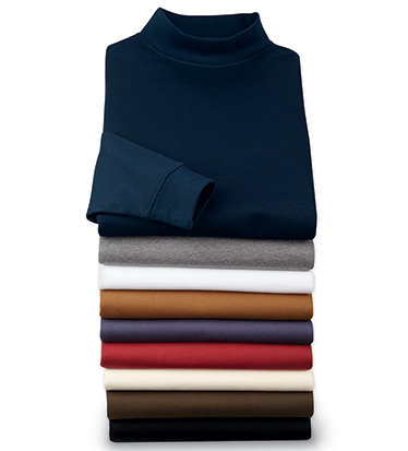 Long Sleeve Pima Mock Neck Tee Shirt