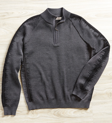 St. Croix Jacquard Quarter Zip Sweater