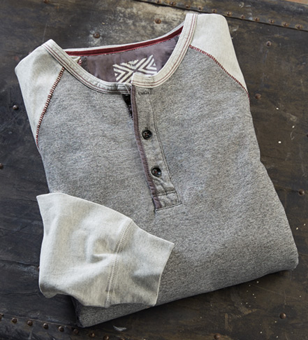 True Grit Twisted Heather Long Sleeve Henley