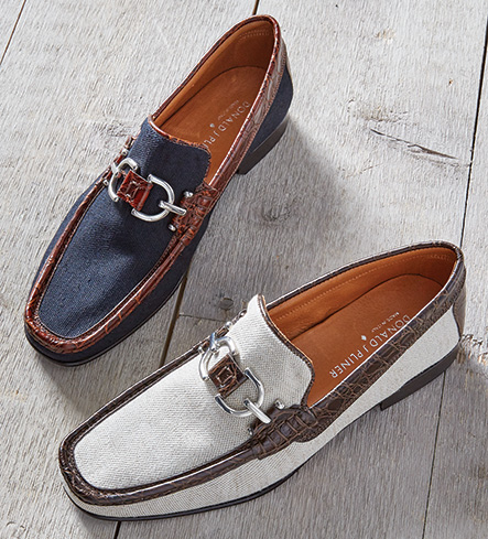 Donald J. Pliner Navy Canvas Slip-On Shoes