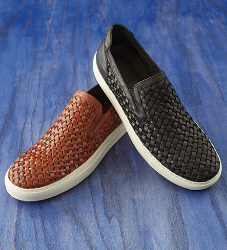 Donald J. Pliner Woven Vachetta Brown Slip-On Shoes