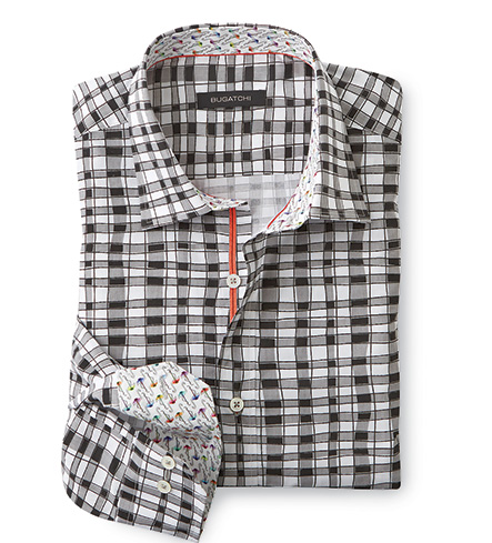 Bugatchi Uomo Abstract Check Long Sleeve Sport Shirt