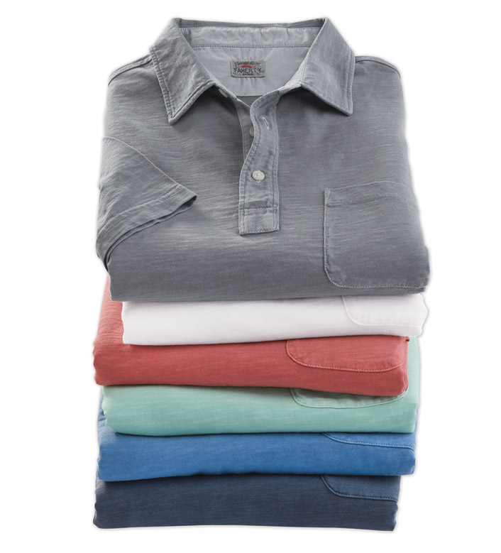 Faherty Short Sleeve Cotton Polo Shirt