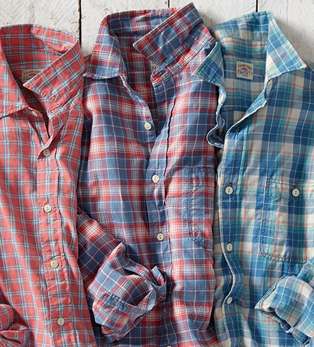 Faherty Ventura Long Sleeve Red & Blue Check Sport Shirt