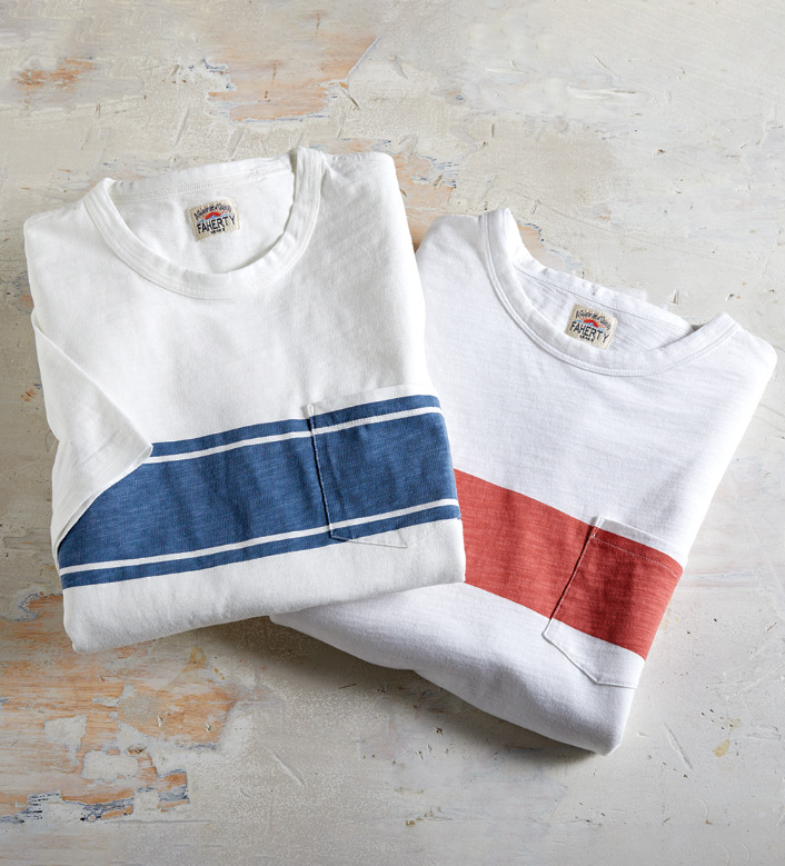 Faherty Surf Stripe Short Sleeve Pocket Tee Shirt
