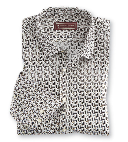 Patrick James Geo Print Long Sleeve Sport Shirt
