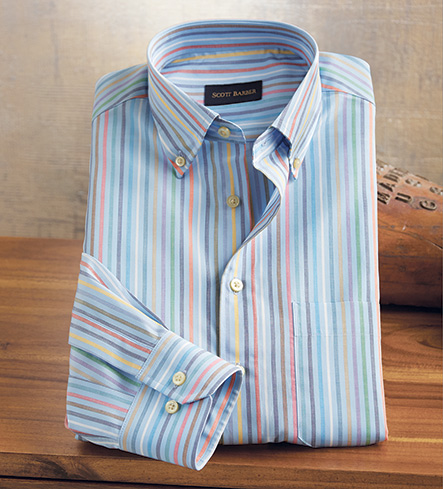 Scott Barber Stripe Long Sleeve Sport Shirt