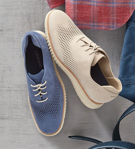 Cole Haan Washed Indigo Laser Cut Wing Tips