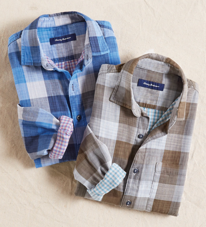Tommy Bahama Dual Lux Plaid Long Sleeve Sport Shirt