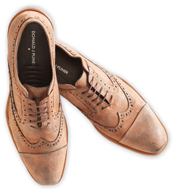 Distressed Velvet Wingtip Shoes