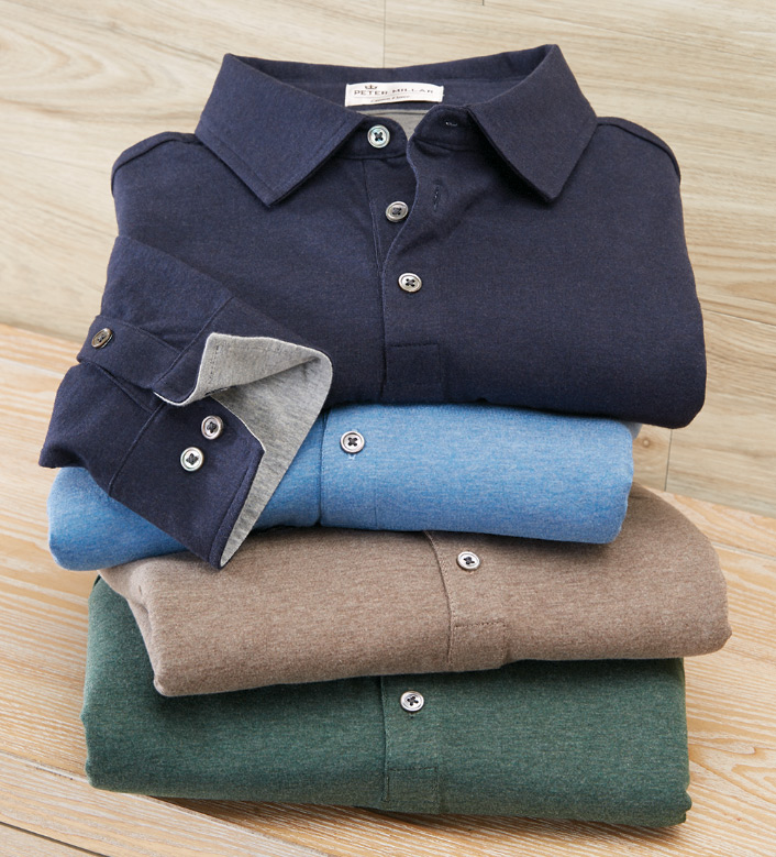 Peter Millar Crown Fleece Long Sleeve Polo