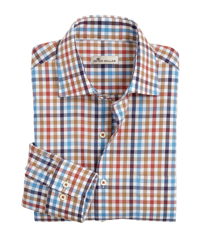 Peter Millar Maritime Check Long Sleeve Sport Shirt