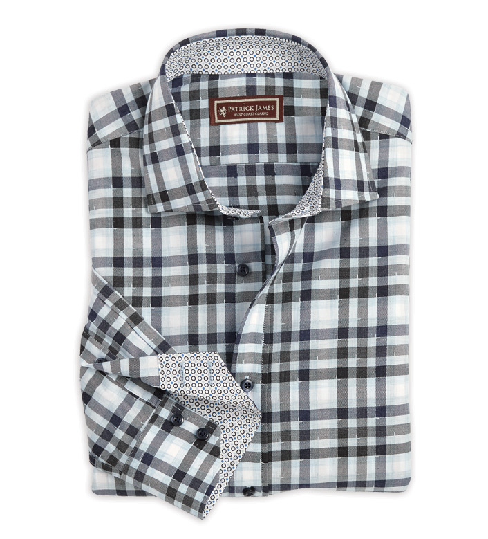 Patrick James Jaspe Plaid Long Sleeve Sport Shirt