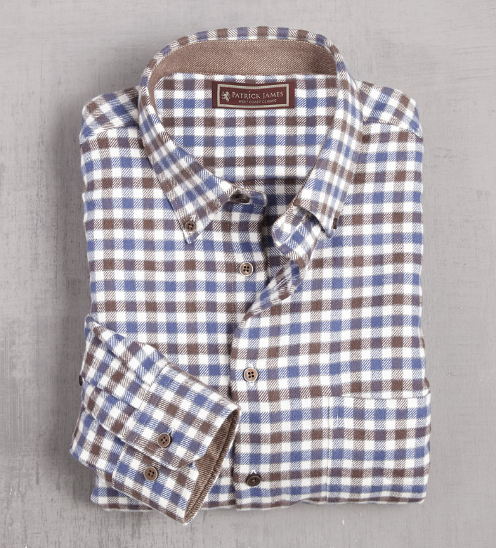 Patrick James Check Flannel Long Sleeve Sport Shirt
