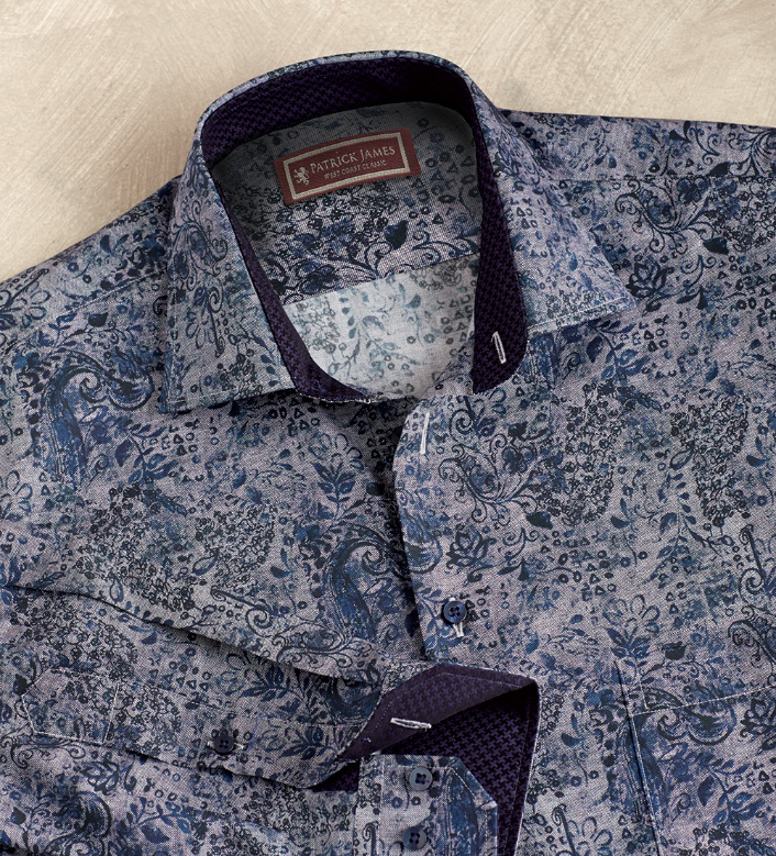 Patrick James Paisley Floral Print Long Sleeve Sport Shirt