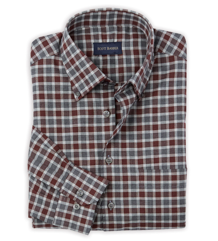 Scott Barber Burgundy/Grey Check Long Sleeve Sport Shirt