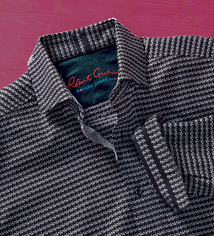 Robert Graham Landen Houndstooth Long Sleeve Sport Shirt