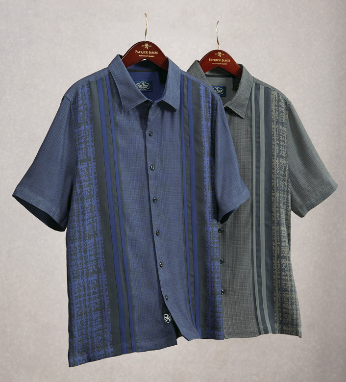Nat Nast Lodge Print Panel Short Sleeve Sport Shirt