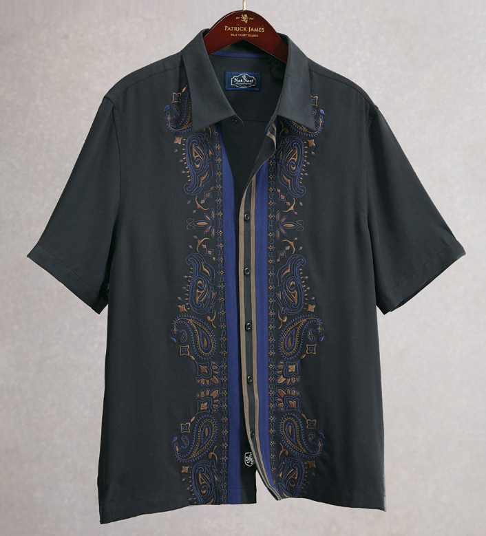 Nat Nast Embroidered Panel Short Sleeve Sport Shirt