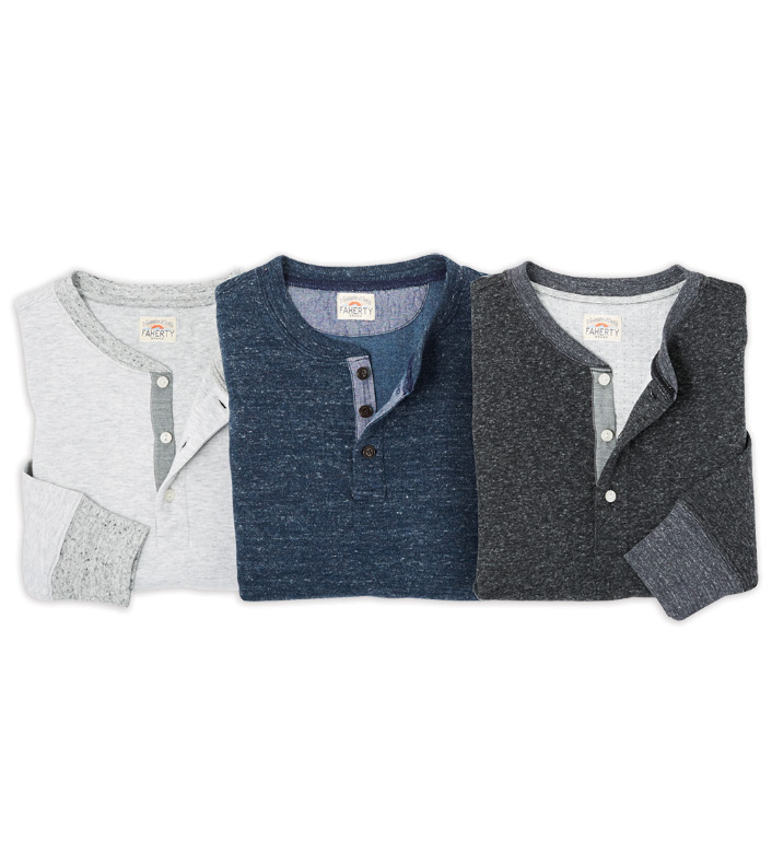 Faherty Dual Knit Long Sleeve Henley