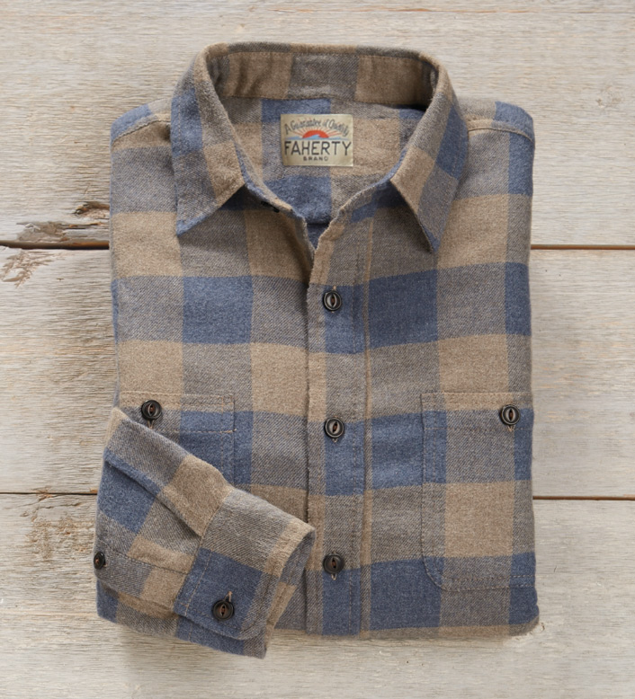 Faherty Buffalo Check Flannel Long Sleeve Sport Shirt