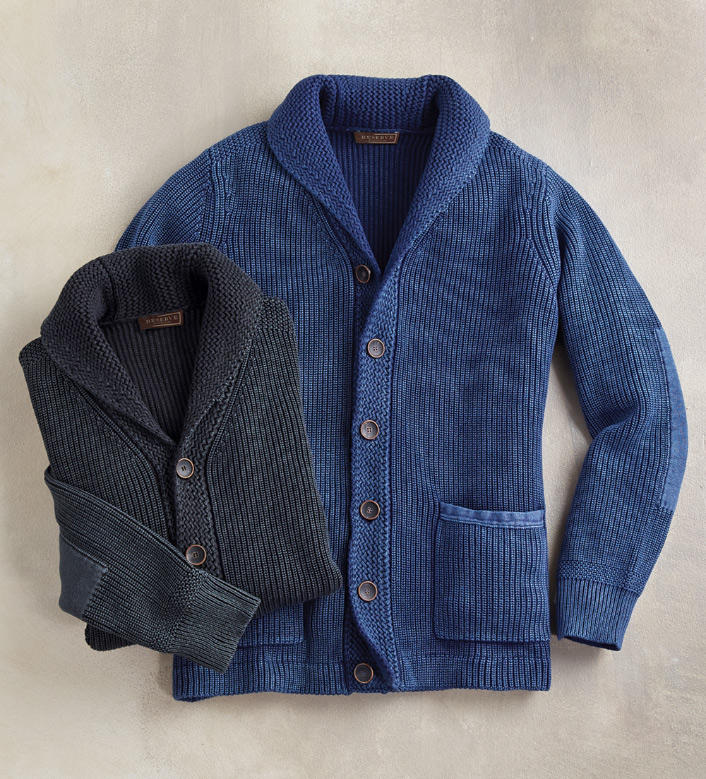 Reserve Navy Shawl Collar Cardigan