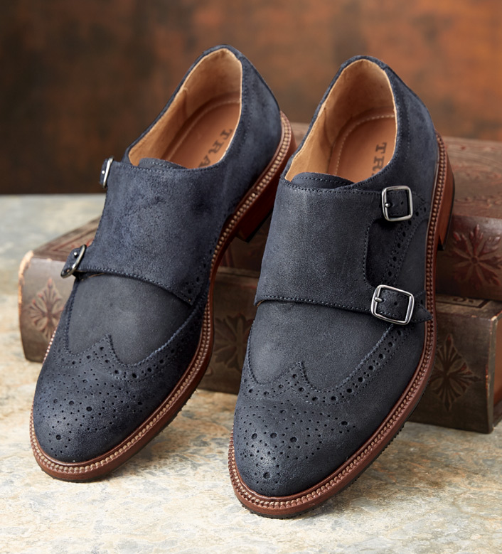 Trask Leland Navy Suede Shoes