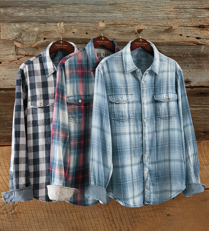 True Grit Essex Plaid Route 66 Long Sleeve Sport Shirt