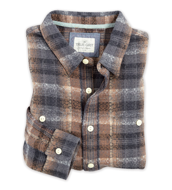 True Grit Dakota Plaid Brown Long Sleeve Sport Shirt
