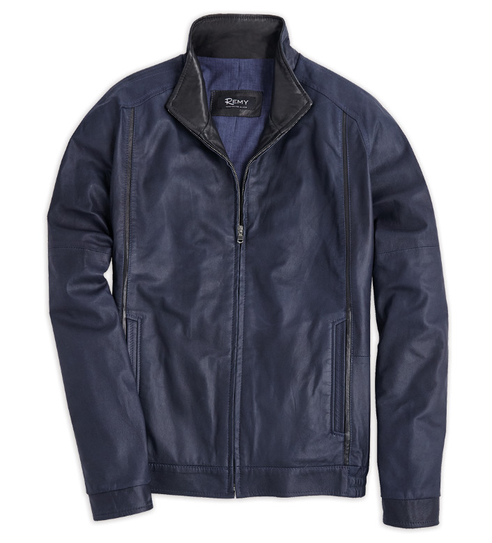 Remy Leather Navy Blouson Jacket