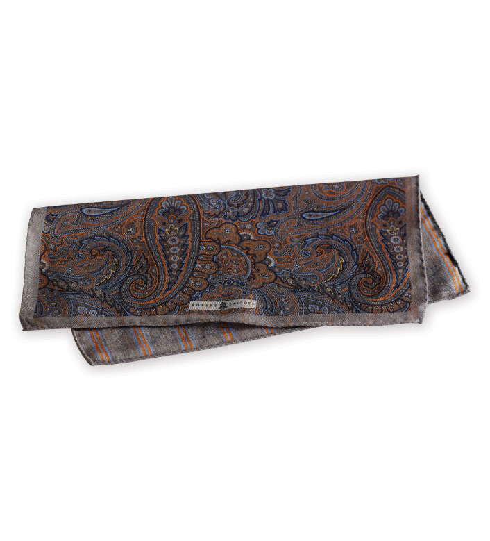 Robert Talbott Taupe Reversible Pocket Square