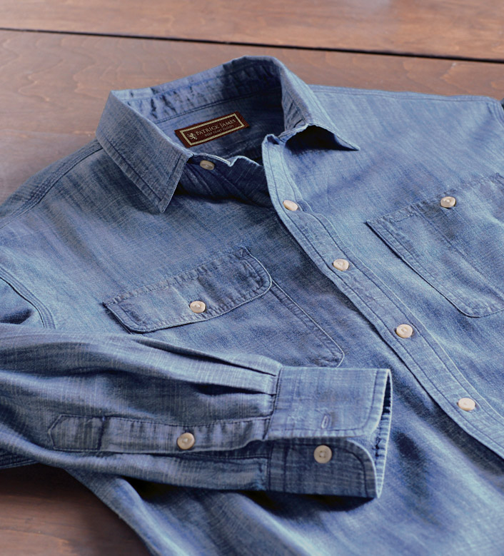 Patrick James Sundance Long Sleeve Denim Sport Shirt