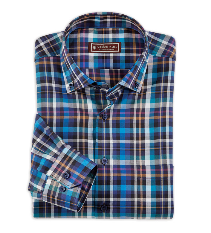 Patrick James Multi Plaid Long Sleeve Sport Shirt