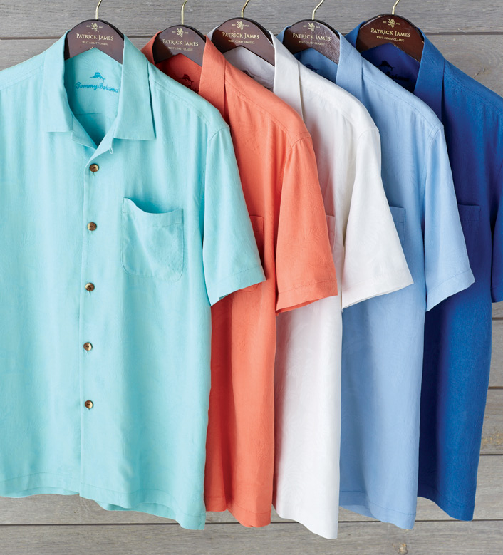 Tommy Bahama St. Lucia Fronds Silk Short Sleeve Sport Shirt