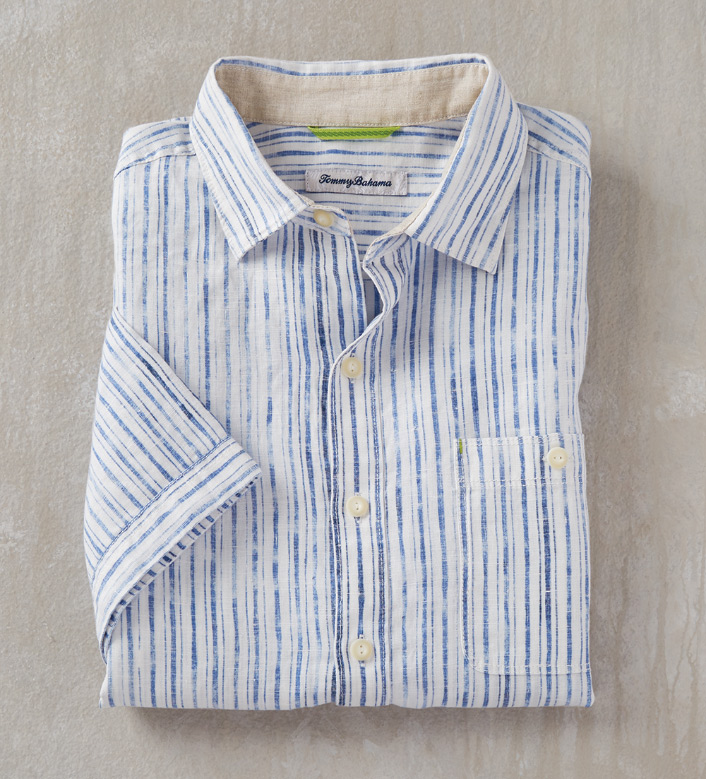 Tommy Bahama Stripe Del Soul Short Sleeve Sport Shirt