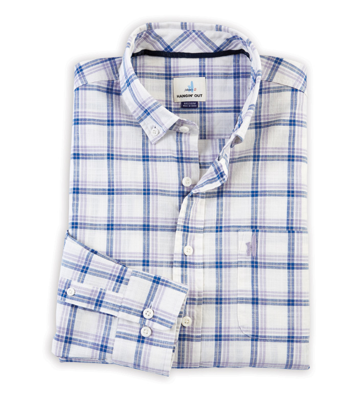 Johnnie-O Davis Plaid Long Sleeve Sport Shirt