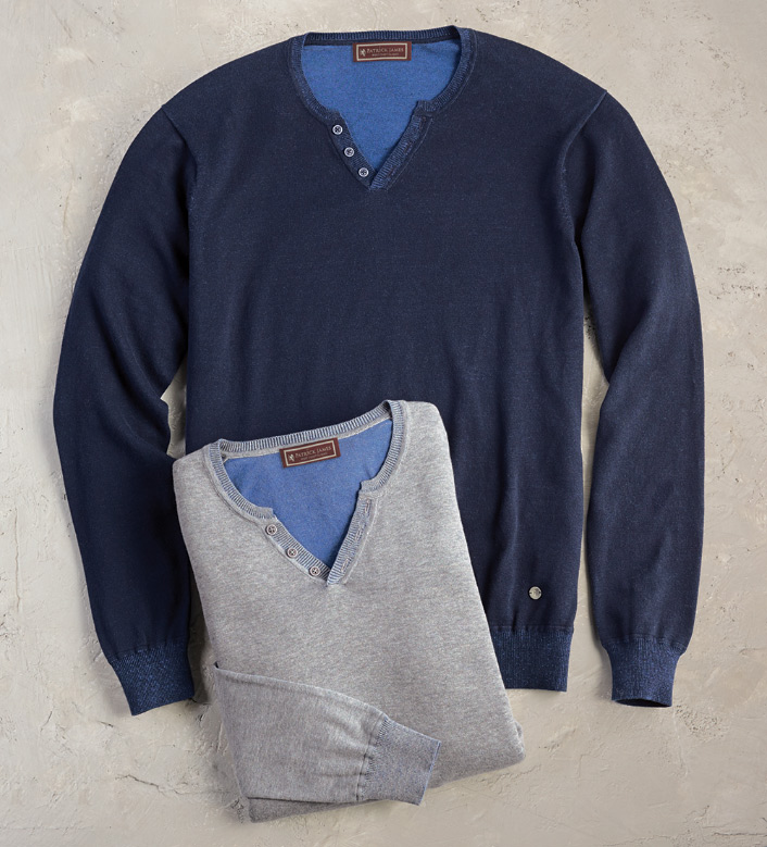 Patrick James Reversible Henley Sweater