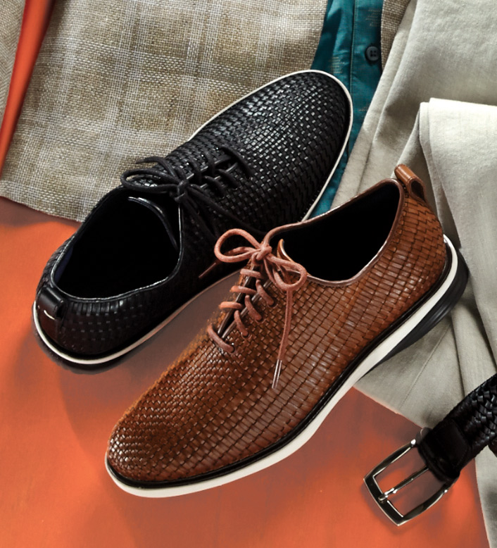 Cole Haan Woven British Tan Oxfords