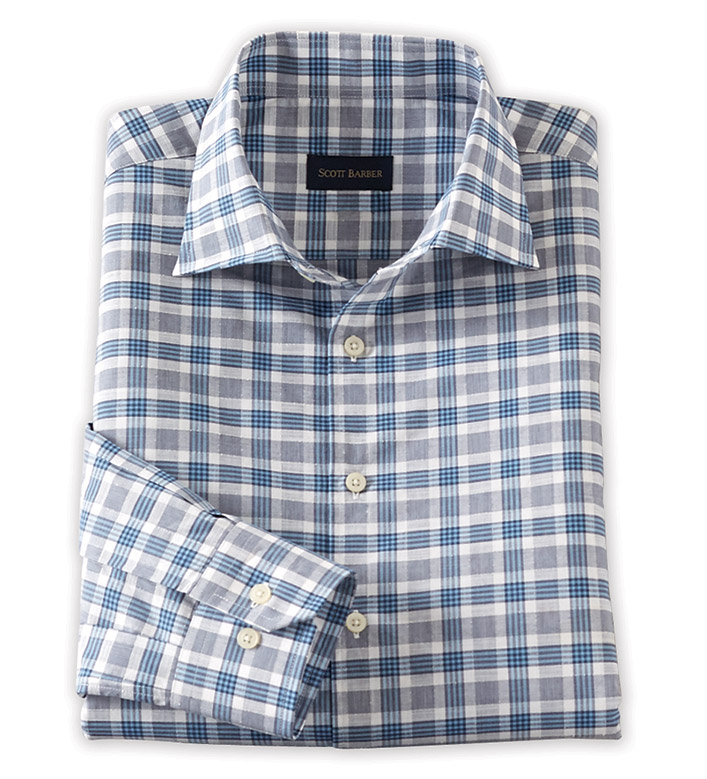 Scott Barber Grey/Blue Check Long Sleeve Sport Shirt
