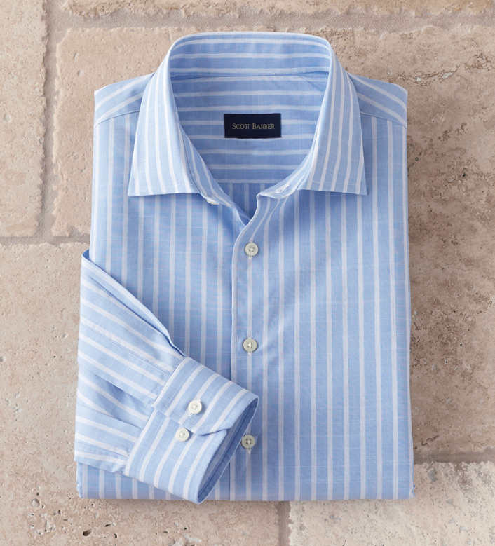 Scott Barber Blue Stripe Long Sleeve Sport Shirt