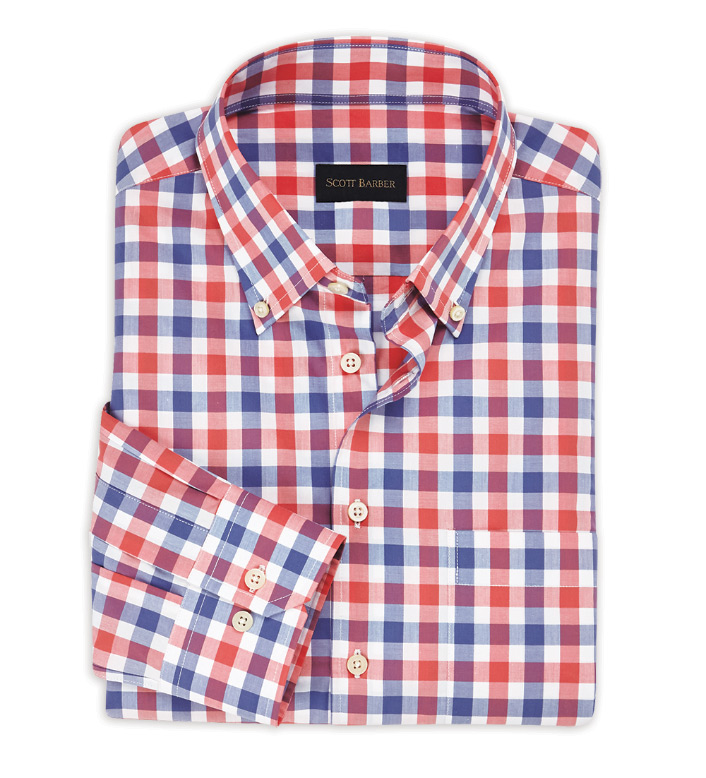 Scott Barber Red/Blue Check Long Sleeve Sport Shirt