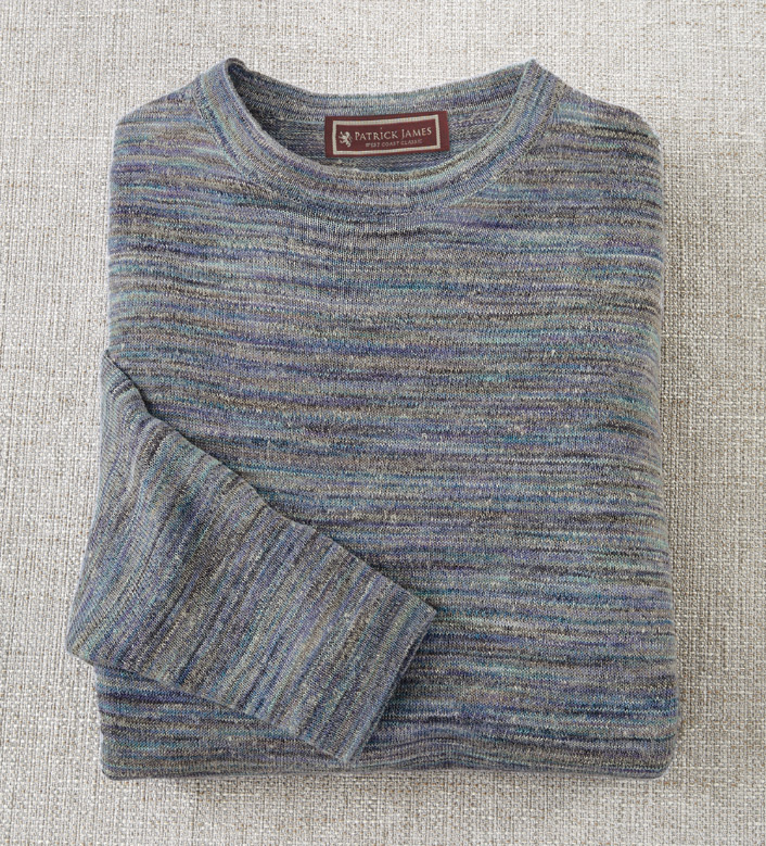 Patrick James Wave Blue Space-Dyed Sweater
