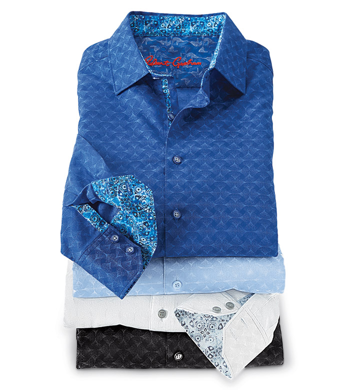 Robert Graham Diamante Jacquard Long Sleeve Sport Shirt