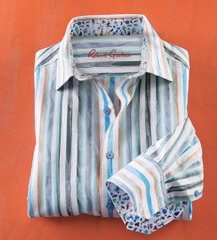 Robert Graham Murals Stripe Long Sleeve Sport Shirt
