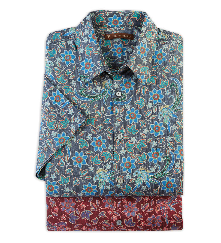 Tori Richard Palazzo Short Sleeve Camp Shirt