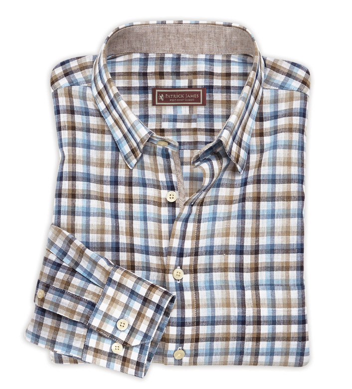 Patrick James Beige Blue Check Long Sleeve Sport Shirt
