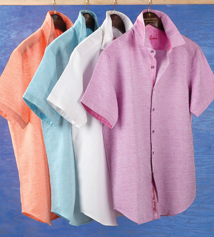 Robert Graham Cyprus Linen Blend Short Sleeve Sport Shirt