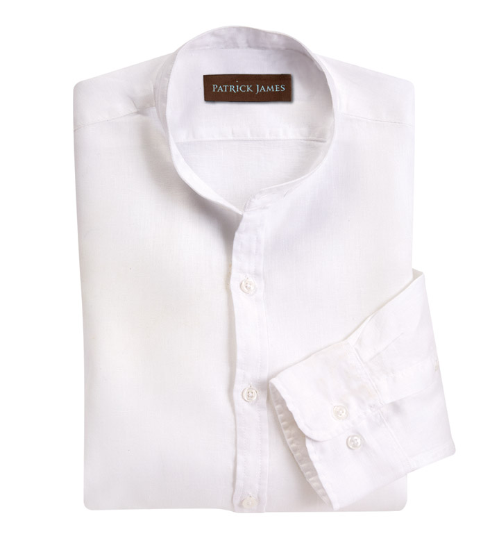 Patrick James White Linen Long Sleeve Sport Shirt